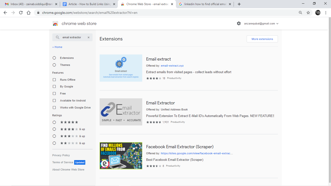 Chrome extensions of Email Extractors