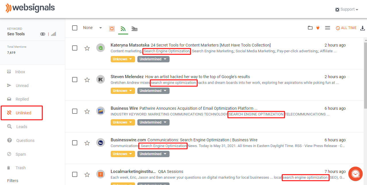 Unlinked mentions with industry-specific keywords