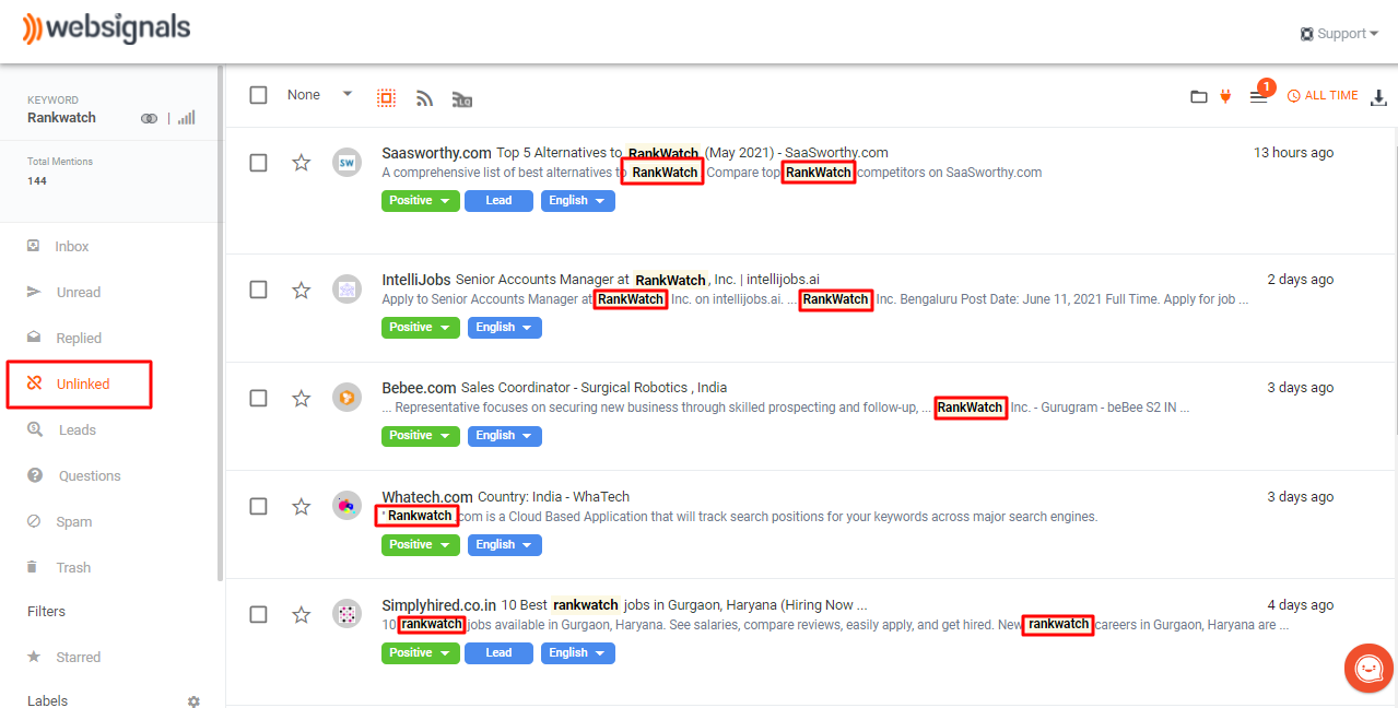 Finding unlinked reviews and testimonials for tracked keywords