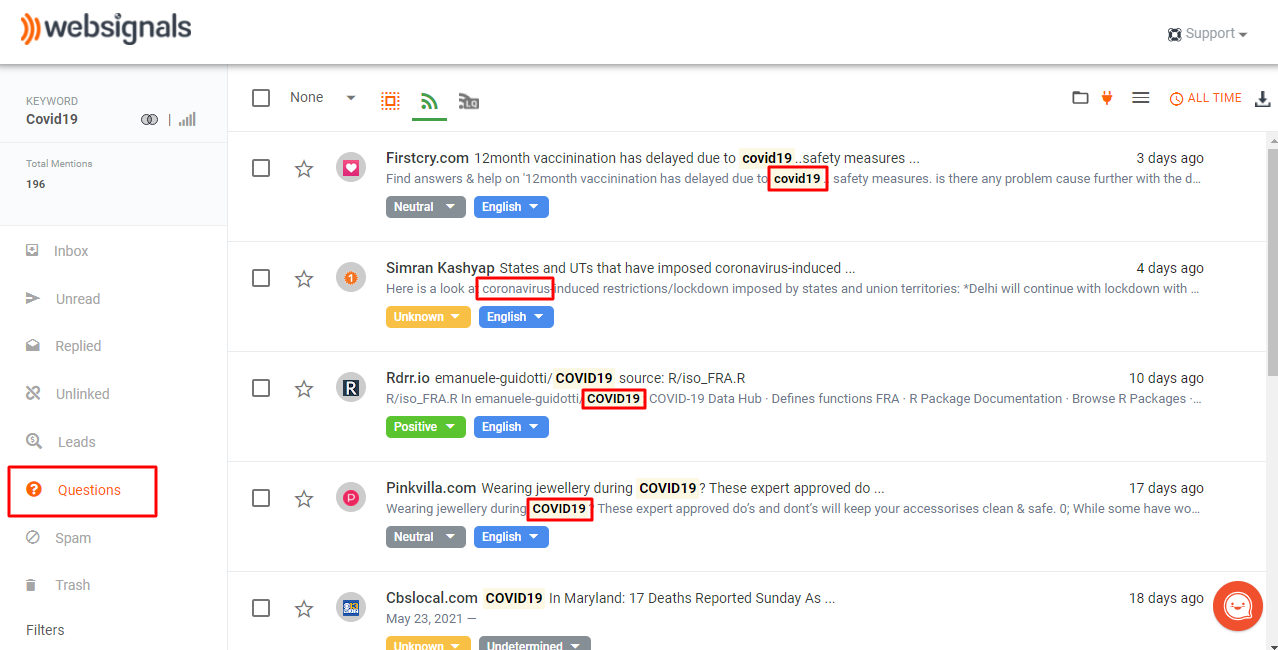 Finding questions among the mentions for tracked keywords