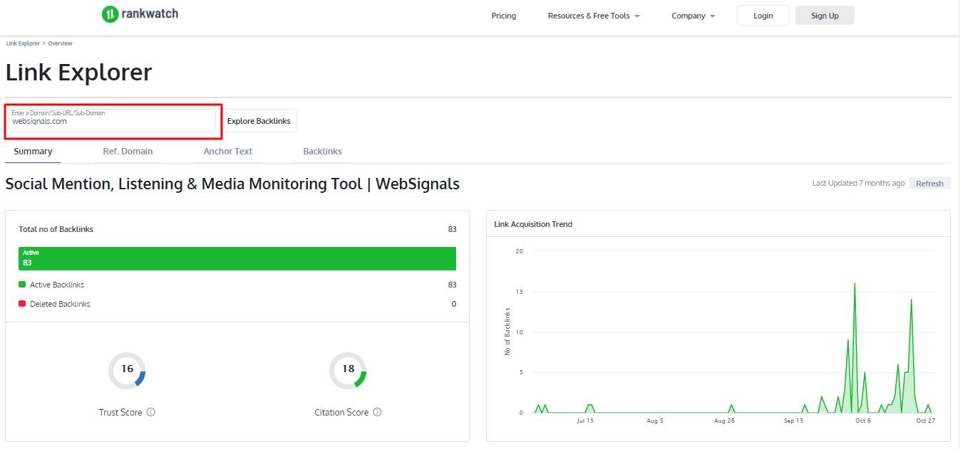 Backlink Analysis using Backlink Checker Tool by Rankwatch