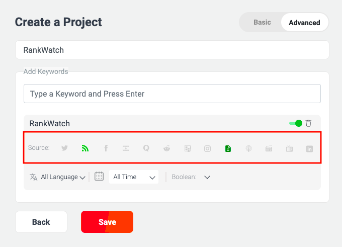 Selecting Sources in WebSignals